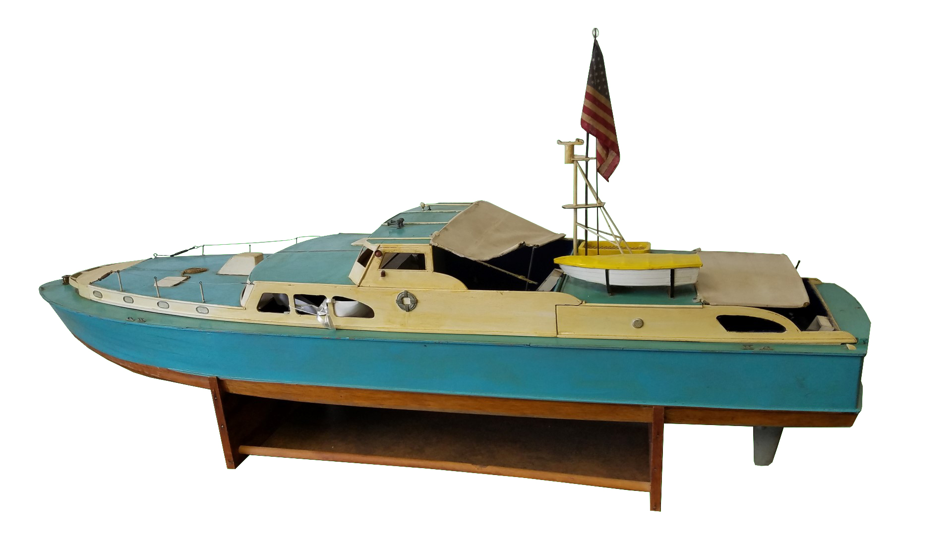 Ccrs16 Wooden Model Boat Marked Rockefeller Collection